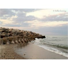 Sunset, nc, beach, ocean, wave, rocks, crash