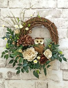 Burlap and Twig Owl Wreath Ivory and Brown Neutral Wreath Front Door Wreath Grapevine Wreath Silk Floral Wreath Outdoor Wreath Door Decor Door Decoration Home Decor Roses Hydrangeas Artificial Greenery by Adorabella Wreaths! Owl Wreaths, Holiday Wreaths, Christmas Decorations, Ribbon Wreaths, Yarn Wreaths, Winter Wreaths, Summer Door Decorations, Silk Flower Wreaths, Hydrangea Wreath