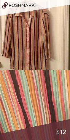 BEAUTIFULLY Striped FUN Blouse 🎀 This Shirt is SASSY, CLASSY & Fun! ❤️ Comfortable and FULL of color! ⭐️ CUTE ‼️ Essentials By Milano Tops Button Down Shirts