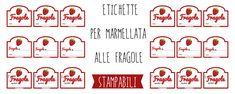 6 tipi diversi di etichette marmellata di Fragole da stampare. Puoi scegliere tra quelle già scritte e scrivibili in due formati diversi