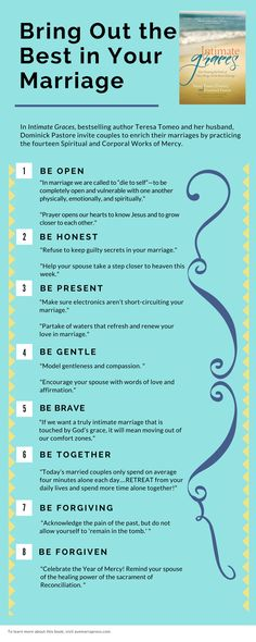 """Bring Out the Best in Your Marriage. Tips from """"Intimate Graces: How Practicing the Works of Mercy Brings Out the Best in Marriage"""" by @TeresaTomeo & Deacon Dominick Pastore ( @AveMariaPress )"""
