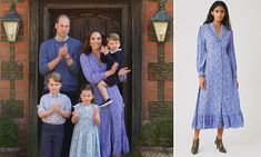 Kate Middleton wears blue floral Ghost dress to clap for the NHS at their Norfolk home Prince And Princess, Princess Kate, Princess Charlotte, Ghost Dresses, Blue Dresses, Kensington Palace Instagram, Black Dungarees, Royal Fashion, Duchess Of Cambridge