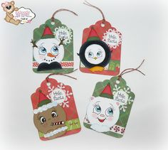 Christmas tags stamped with the Peachy Keen Candy Cane Face and Ornament Face stamp sets.