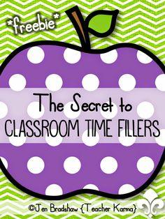 FREE printable time filler activities for teachers. TeacherKarma.com
