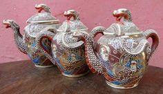 Conjunto de chá em porcelana japonesa, figuras de divin..