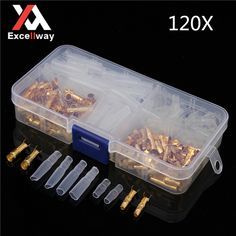 Excellway® TC11 120Pcs Brass Bullet 3.5mm Connector Terminal Male and Female with Insulated Cover