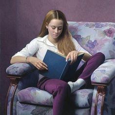 """""""Reading"""" / Stephen Gjertson (b. Oil on canvas (Nerd girl as art) Reading Art, Woman Reading, I Love Reading, Reading Nook, I Love Books, Used Books, People Reading, Children Reading, Image Avatar"""
