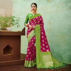 3a49a46d24529 Buy Pink-Green Colored Designer Festive Wear Banarasi Silk Saree Online  India