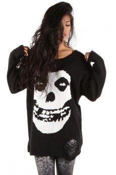 Misfits Torn Sweater ❤ Black $55
