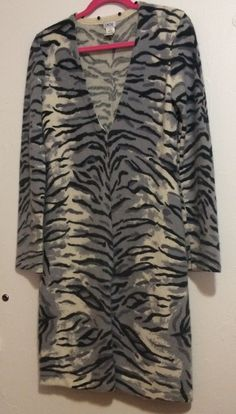 105a5c0292417 Animal Print Sweater Coat Size M Gray  amp  Ivory Wool Blend Detachable  Collar Cache