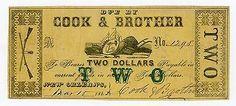 1862 $2 Cook & Brother - LOUISIANA Merchants Scrip (CSA Gun Makers)