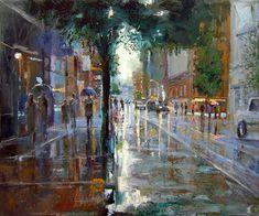 Dusan Malobabic, In th Rain (oil on canvas)