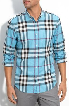 Burberry Brit Exploded Check Print Shirt, Light Blue