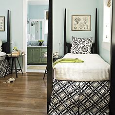 Guest Rooms: Black, White, and Blue - Gracious Guest Bedroom Decorating Ideas - Southern Living