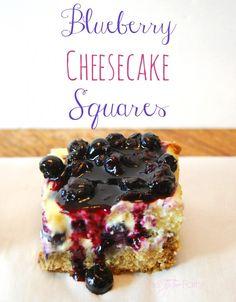I think this would be a good way to die ~ Blueberry Cheesecake Squares - The TipToe Fairy Blueberry Desserts, Cold Desserts, Blueberry Cheesecake, Cheesecake Recipes, Easy Desserts, Delicious Desserts, Yummy Food, Blueberry Compote, Yummy Treats