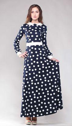 Polka dot dress. Peter Pan collar. Dress  floor. Jersey maxi dress. Maxi dress.. Long sleeve dress. Dark  blue dress. Autumn dress.