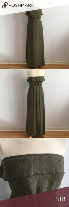 "Trixxi Green Strapless Maxi Dress Cute and airy camouflage green Strapless Maxi Dress by Trixxi purchased at Macy's. Pull on style, floor length, Strapless bandeau neckline with Tiered ruffle, A line silhouette. Size S 50"" length. Gently worn. Trixxi Dresses Maxi"