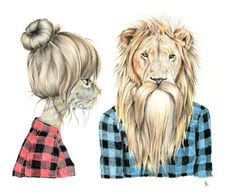 omg hipster Kat and hipster Lion (Cory)