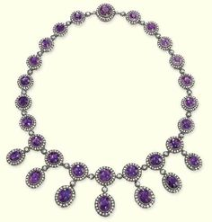 AN ANTIQUE AMETHYST AND DIAMOND NECKLACE
