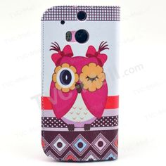 Cute Owl Bowknot Stand Leather Wallet Case for HTC One M8