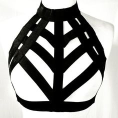 New 2017 Womens Black Stretchy Caged Harness Bralette Size Medium