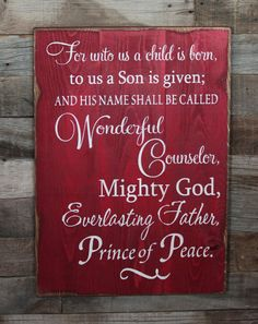 Large Wood Sign  For Unto Us A Child Is Born by dustinshelves