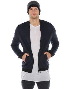 2xH Brothers Strickblouson Kristoffer Blau  stylische Zipper-Jacke in Blau kleiner Kragen durchgehender Reißverschluss Einschubtaschen mit Reißverschluss weiches Material