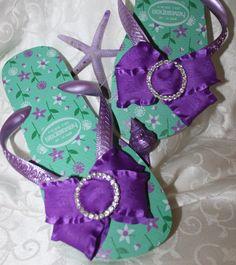 31a3e43cd3c40 Items similar to Purple Passion ribbon Havaianas flip flops