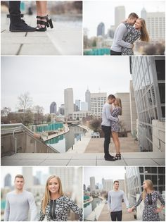 Engagement Photos on the Canal in downtown Indy, Indianapolis Photographers Brent and Erinn winter photos cute dress heels beautiful