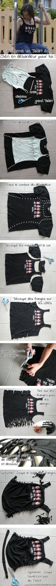 Transforme un Tshirt que ton chéri ne porte pas en débardeur pour toi ! Tutoriel sans couture. Toutes les explications en détail sur le site. http://clementinelamandarine.com/cet-ete-porte-le-plus-beau-tshirt-de-ton-cheri/