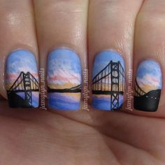#silhouettenails #goldengatebridge