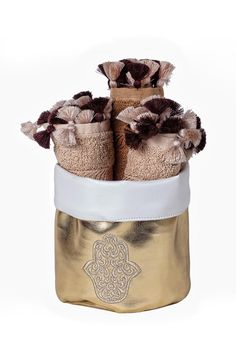 """Embroidered Hamsa towel basket, with brown cotton hands towels 3-pieces set. Perfect for gifts or for your house bathroom. Can also be used as a jewelry and make up basket.  Approx Measure : 5.5""""x8""""x6.5""""  Hamsa Towel Basket  by Le Beau Maroc . Home & Gifts - Home Decor Florida"""