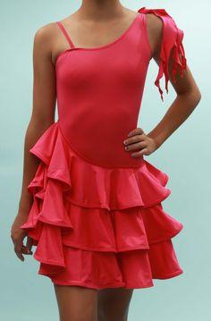 Maddie - Asymmetric Junior Girls' Dancesport Latin ballroom dress - Sweet Chili Dance, Kids' Ballroom Dancing Supplies