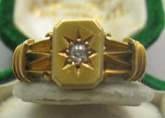 superb Victorian highly detailed 18ct gold signet 1894 diamond ring