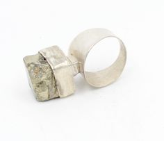 Sterling silver stacked ring, set with raw natural Pyrite on a wide silver band.