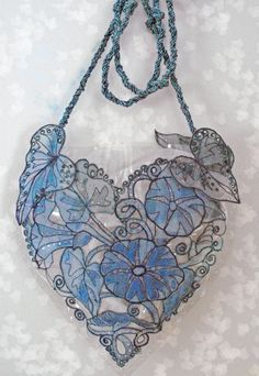 morning glory heart felt bag from English textile artist, Kathleen Laurel Sage I Love Heart, With All My Heart, Diy Quilling, Heart Art, Lace Heart, Love Symbols, Felt Hearts, My Favorite Color, Shades Of Blue