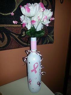Breast Cancer Awareness Wine Bottle Vase