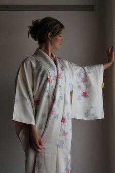 Cream 2nd hand Kimono with pastel flowers by WildRosebudDesigns, $145.00