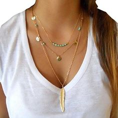 Women Layered necklace Pendant Chain Statement Necklace