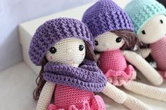 Crochet dolls cute in winter outfits perfect for Christmas