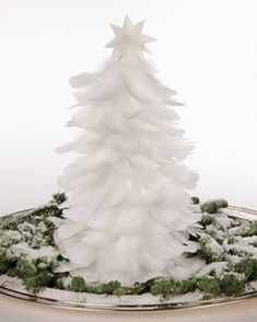 I definitely need to make `a white feather tree -- 17 White And Silver Christmas Decorations – Creating A Snow Fairytale | DigsDigs