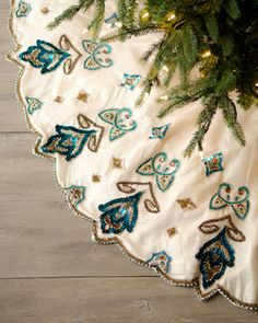 """Perfect for my Peacock Tree ... """"Blue Spruce"""" Royal Gate Christmas Tree Skirt by Kim Seybert at Horchow."""