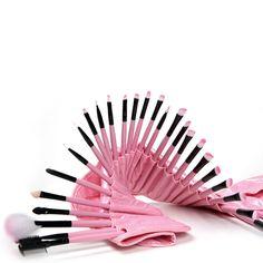Woman's Pink 32 Pcs Make Up Tools Pincel Maquiagem Professional Superior Soft Cosmetic Makeup Brush Set Kit + Pouch Bag Case