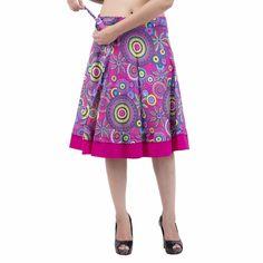 Pink Women Multicolored Rajasthani Wrap Around Skirt Knee Length IWUS Wrap Around Skirt, Cotton Skirt, Midi Skirt, Trending Outfits, Stylish, Mini, Skirts, Shopping, Vintage