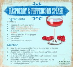 Raspberries, #sorbet and peppercorn may seem a surprising mix, but we assure you this sharp #cocktail is #summer time in a glass! Don't believe us?  Try it for yourself.