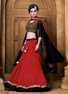 Black and Red net designer lehanga choli