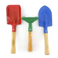 "8"" Kid's 3 Pieces Metal Garden Tool Set Rake,shovel and Trowel. This garden tool set includes one trowel,one shovel,one rake. Great for kid's educational garden planting. Looks cute with bright colors,kids are gonna love them. Total length are around 8"". Comfortable, fatigue-reducing Softouch with wooden handles."