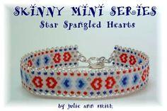 SKINNY MINI SERIES - Star Spangled Hearts Peyote Bracelet Pattern by Julie Ann Smith Designs at Bead-Patterns.com