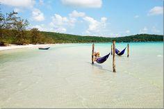 Koh Rong Samloem Island - Hammocks in the Ocean = Perfection!  Read more on wanderluststorytellers.com.au