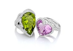 Margherita Burgener couple of rings. Peridot and kunzite. Which one you like most? www.margheritaburgener.com